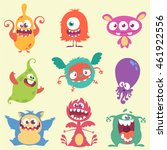 cute cartoon monster and alien... | Shutterstock .eps vector #461922556