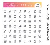 set of 56 game items line icons ... | Shutterstock .eps vector #461922976