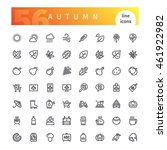 set of 56 autumn line icons... | Shutterstock .eps vector #461922982