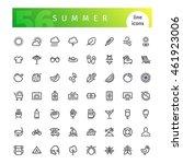 set of 56 summer line icons... | Shutterstock .eps vector #461923006