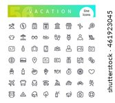 set of 56 vacation line icons...