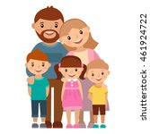 happy family of five  posing... | Shutterstock .eps vector #461924722