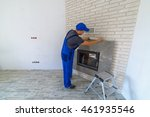 fireplace installing in white... | Shutterstock . vector #461935546