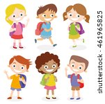 happy children going to school... | Shutterstock .eps vector #461965825