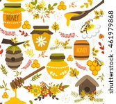 honey hand drawn seamless... | Shutterstock .eps vector #461979868