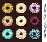set of donuts isolated on a...   Shutterstock .eps vector #462012406