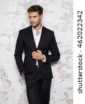 portrait of sexy man in black... | Shutterstock . vector #462022342