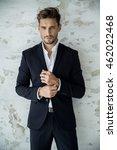 portrait of sexy man in black... | Shutterstock . vector #462022468