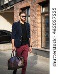a man with a beard   wearing...   Shutterstock . vector #462027325