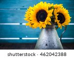 Sunflowers Bouquet In Vintage...