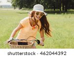 Outdoor Woman Portrait On Bike...