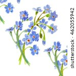 floral watercolor with blue... | Shutterstock . vector #462055942