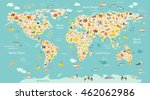 map animal for kid. continent... | Shutterstock .eps vector #462062986