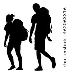 tourists couple with backpacks... | Shutterstock .eps vector #462063316