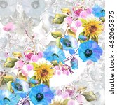 beautiful watercolor bouquet of ... | Shutterstock . vector #462065875