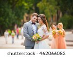 beautiful bride and groom in a... | Shutterstock . vector #462066082