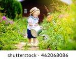 Cute Toddler Boy In Straw Hat...