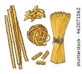 big collection of italian pasta ... | Shutterstock .eps vector #462071062