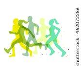 running marathon illustration | Shutterstock .eps vector #462072286