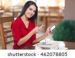 business woman shopping online. ... | Shutterstock . vector #462078805