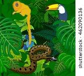 seamless vector tropical... | Shutterstock .eps vector #462090136