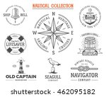 vintage nautical stamps set.... | Shutterstock . vector #462095182