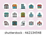 colorful building icons set... | Shutterstock .eps vector #462134548