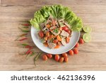 spicy pork salad with mixed... | Shutterstock . vector #462136396
