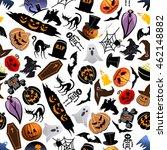 halloween seamless pattern... | Shutterstock .eps vector #462148882