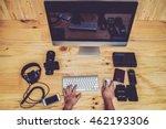 top view office computer pc... | Shutterstock . vector #462193306