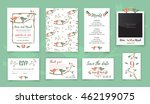 template wedding card with cute ... | Shutterstock .eps vector #462199075
