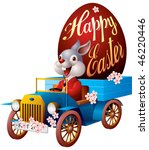 easter rabbit in the truck with ... | Shutterstock .eps vector #46220446