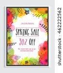 spring sale flyer  sale banner  ... | Shutterstock .eps vector #462222562
