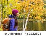 Woman Hiker Hiking Looking At...