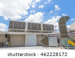 Small photo of Large air ventilation system including grill pipe and motor airflow fan for ventilate vacuum odor place on outdoor top of building.