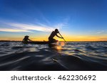 asian fisherman on wooden boat... | Shutterstock . vector #462230692