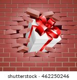 a gift with red ribbon and bow... | Shutterstock .eps vector #462250246