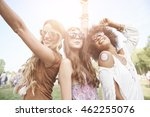 three best friends at the music ... | Shutterstock . vector #462255076