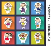 set of funny hand drawn kids on ... | Shutterstock .eps vector #462260062