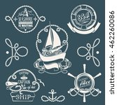 hand drawn nautical badges | Shutterstock .eps vector #462260086