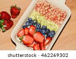 mixed fruits salad served after ... | Shutterstock . vector #462269302