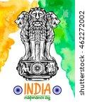 lion capital of ashoka in... | Shutterstock . vector #462272002