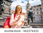 young female traveler eating... | Shutterstock . vector #462276322
