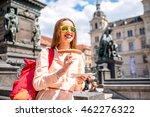 young female traveler eating... | Shutterstock . vector #462276322