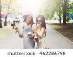 two girls friends outdoors... | Shutterstock . vector #462286798