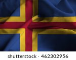 Small photo of Closeup of Ruffled Aland Flag, Aland Flag Blowing in Wind