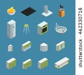 color isometric icons depicting ... | Shutterstock .eps vector #462330718