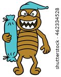 bed bug with bolster cartoon | Shutterstock .eps vector #462334528