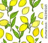 seamless pattern with lemons.... | Shutterstock .eps vector #462340165