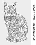 cat zentangle by hand drawing...   Shutterstock .eps vector #462361906